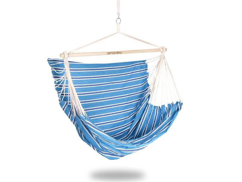 Síť houpací SPOKEY BENCH DELUXE modré pruhy, sedátko pro dva, do 160kg