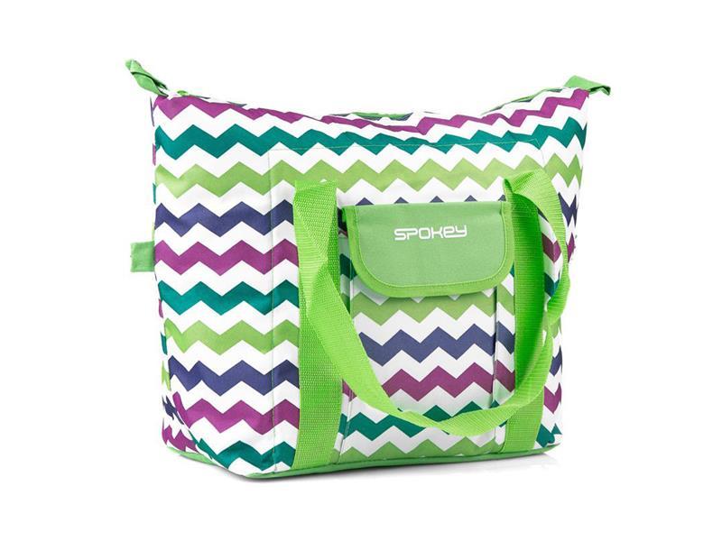 Taška plážová SPOKEY SAN REMO termo zelená zigzag, 52 x 20 x 40 cm