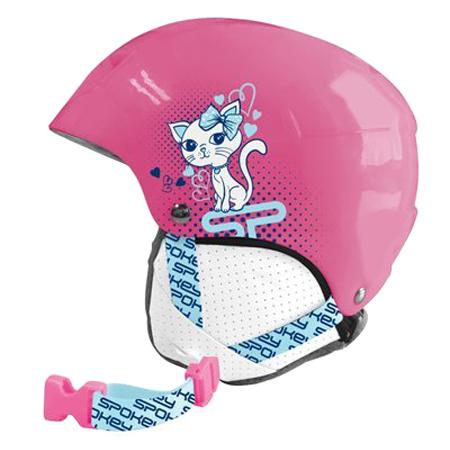 Přilba lyžařská SPOKEY AURORA dětská růžová s kočičkou vel.S