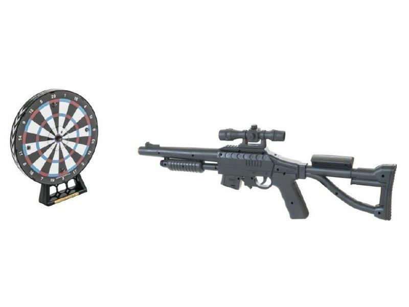 Dětská puška se zaměřovačem TEDDIES SOUNDGUN 66 cm s terčem