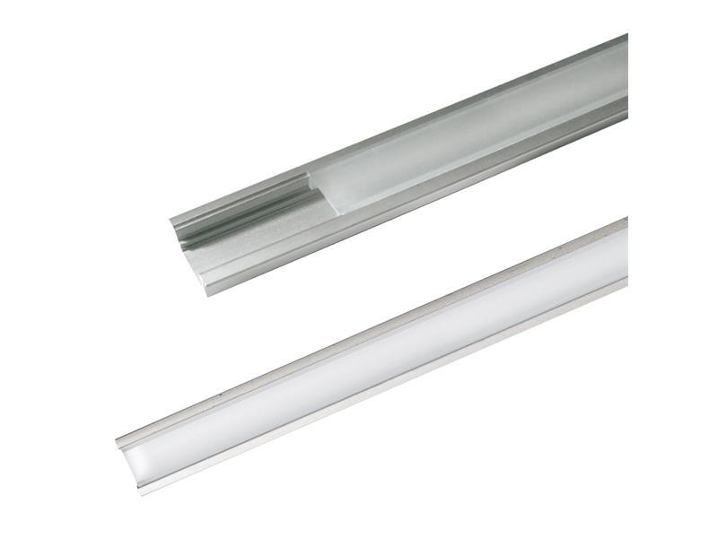 Hliníkový profil AR1 nový pro LED pásky, k zapuštění, včetně plexi, 2m