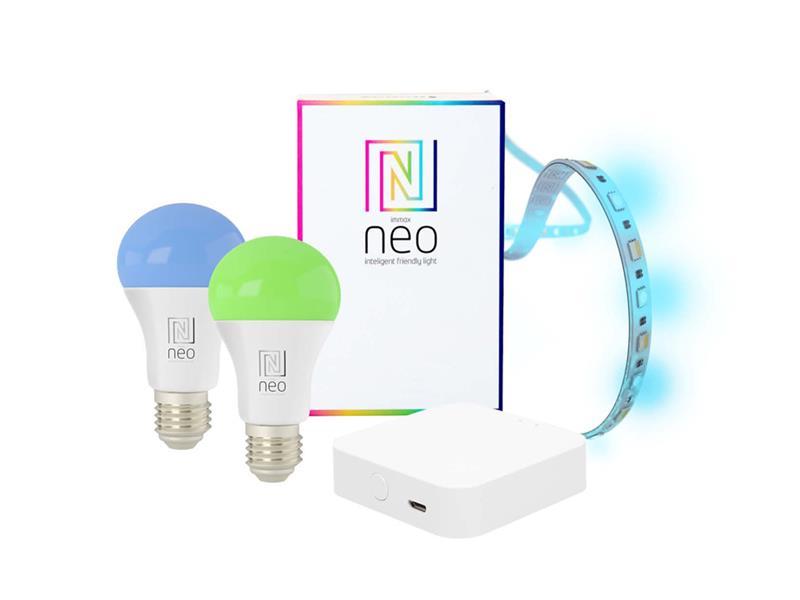 Chytrá WiFi sada IMMAX NEO DELICATE BRIDGE PRO SMART ZIGBEE 3.0 +2x žárovka E27 9W RGB +1x LED pásek