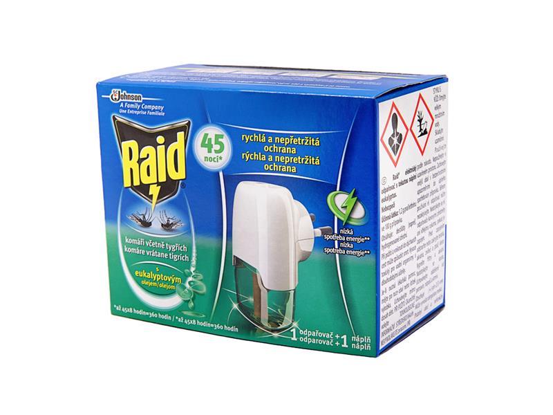 RAID elektrický odpařovač - s tekutou náplní s eukalyptovým olejem 45 nocí 27ml