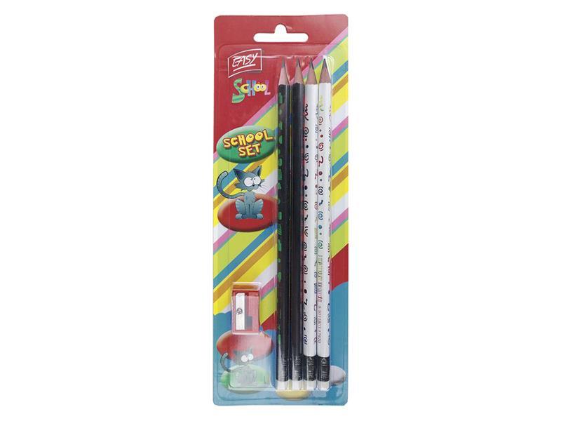 Tužky EASY dřevěné trojhranné s gumou 4ks a ořezávátko