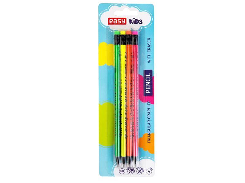 Tužky EASY FLUO dřevěné trojhranné s gumou 4ks