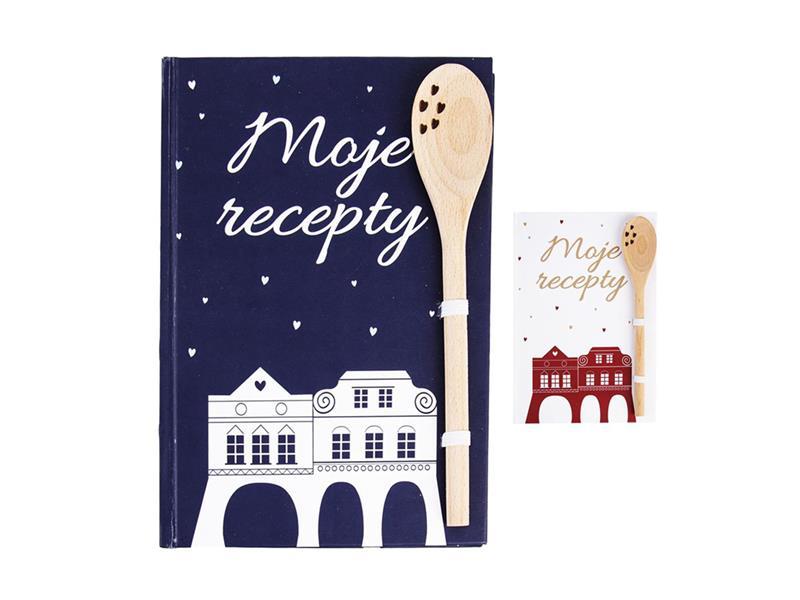 Kniha na recepty s vařečkou ORION WINTER CITY modrá