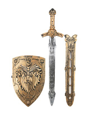 Dětský rytířský meč se štítem a pouzdrem TEDDIES 55 cm