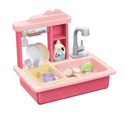 Dětský dřez na mytí nádobí TEDDIES s kohoutkem na vodu růžový