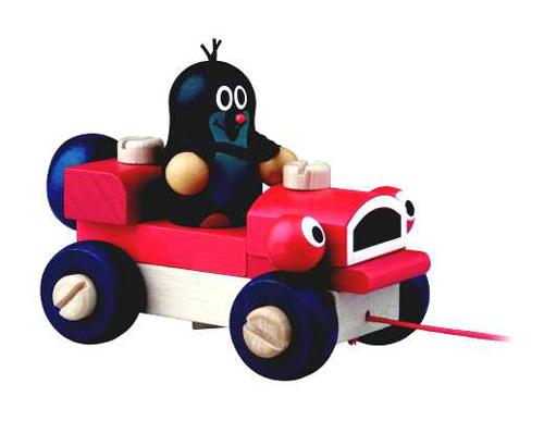 Dětské tahací auto s Krtečkem DETOA dřevěné 14 cm