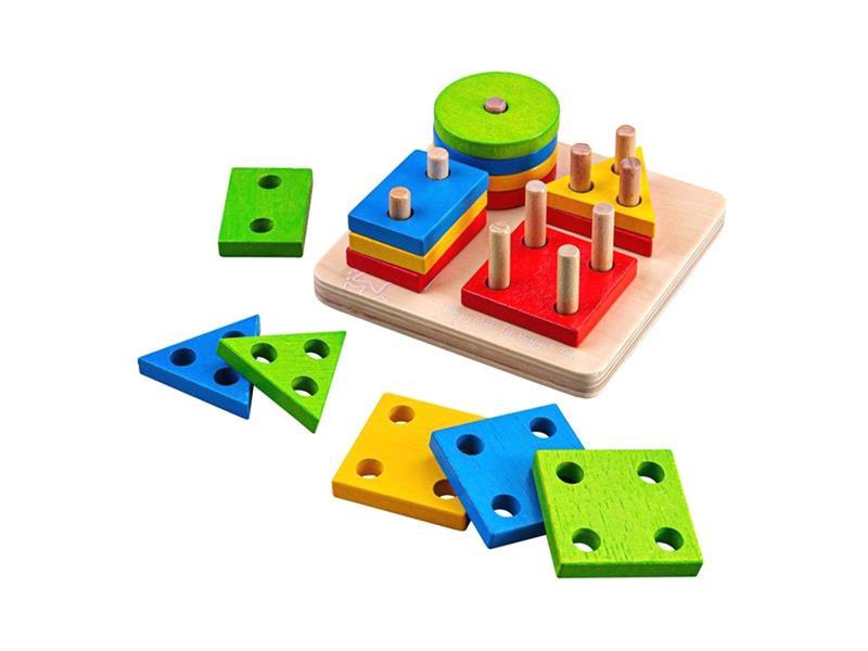 Dětská hra BIGJIGS TOYS Nasazování barevných tvarů na tyče dřevěná