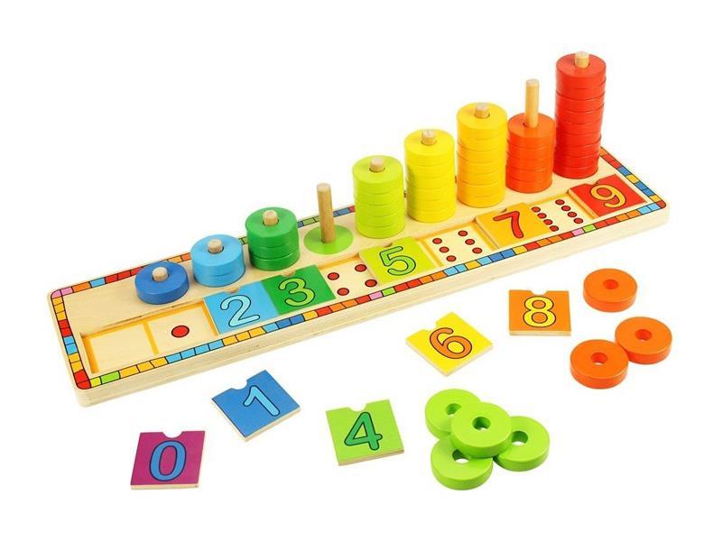 Dětská hra BIGJIGS TOYS Deska nasazování s čísly dřevěná