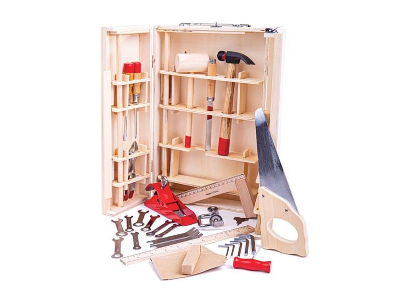 Dětský kufřík s nářadím BIGJIGS TOYS Junior dřevěný