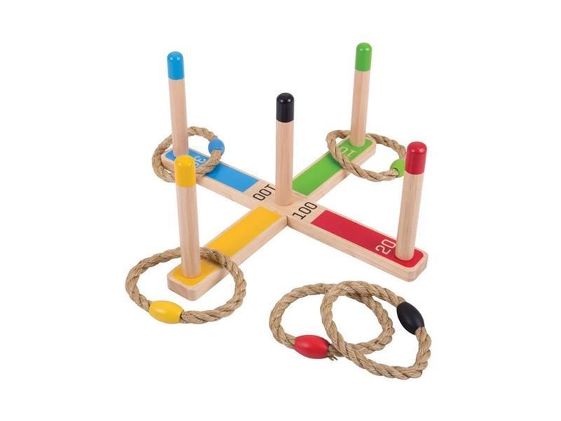 Dětská hra BIGJIGS TOYS Házení kruhů dřevěná