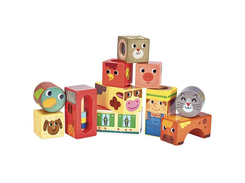 Dětské zvukové kostky VILAC Farma dřevěné