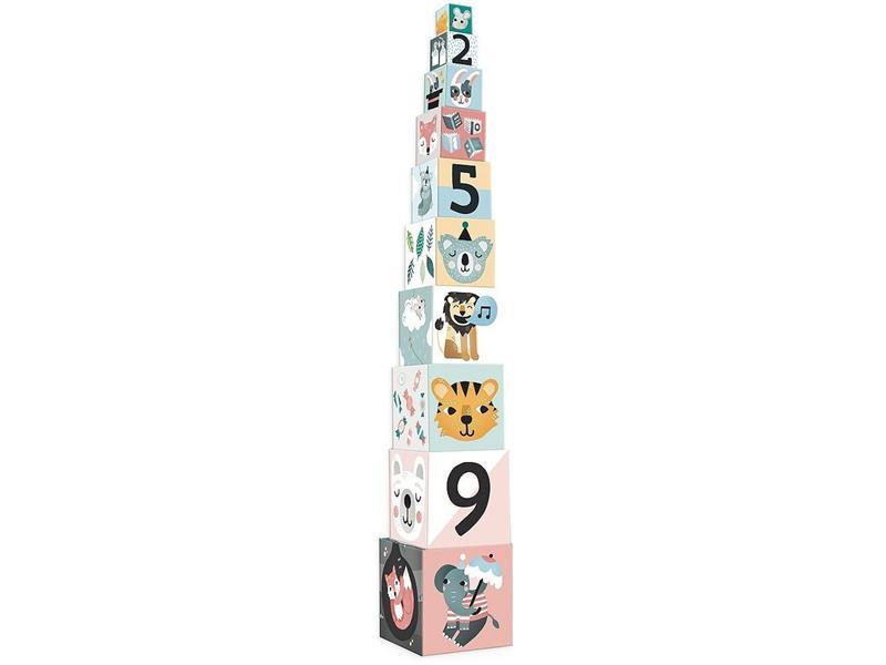 Dětské skládací kostky VILAC Zvířátka s čísly dřevěné