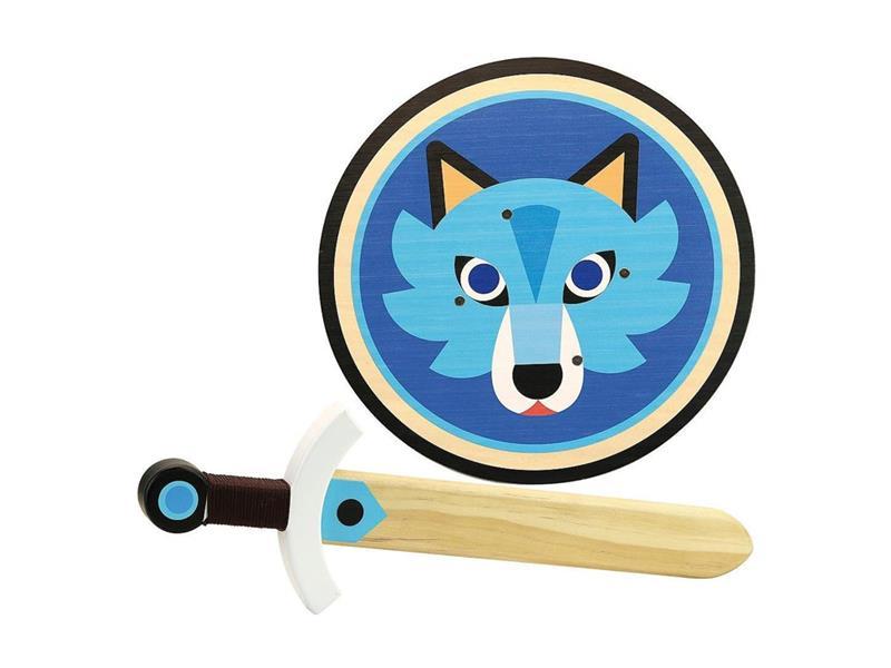 Dětský štít a meč VILAC Vlk dřevěný