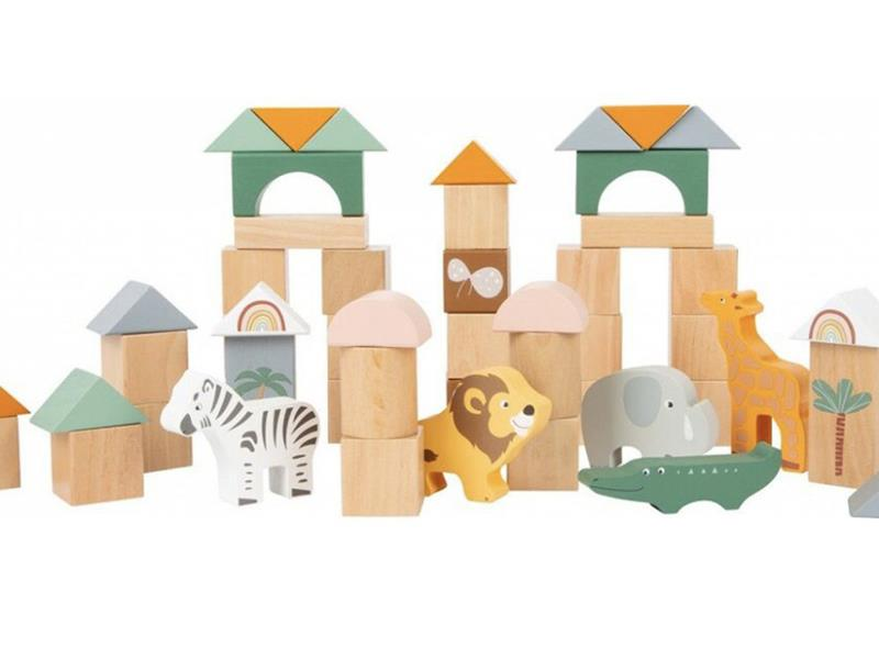 Dětské stavební kostky SMALL FOOT Safari dřevěné 50ks