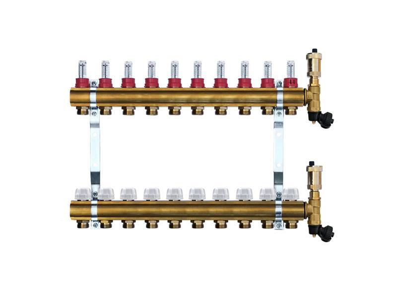 Mosazný rozdělovač s automatickým odvzdušněním - 10 cestný