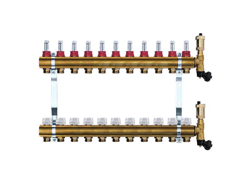 Mosazný rozdělovač s automatickým odvzdušněním - 11 cestný