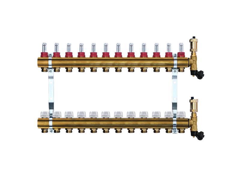 Mosazný rozdělovač s automatickým odvzdušněním - 12 cestný