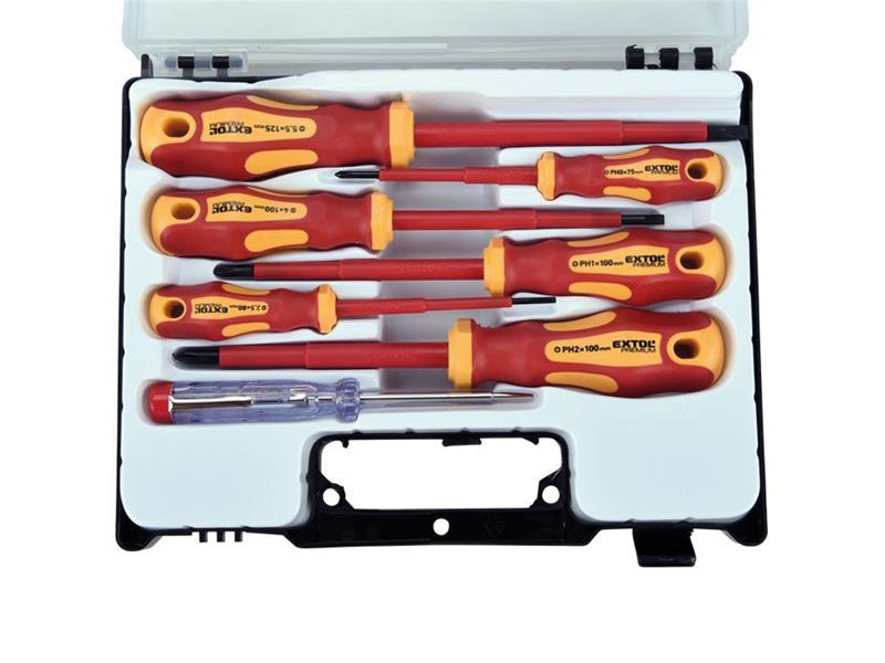 Šroubováky elektrikářské se zkoušečkou, sada 7ks, 3x(-),3x(PH), CrV, EXTOL PREMIUM