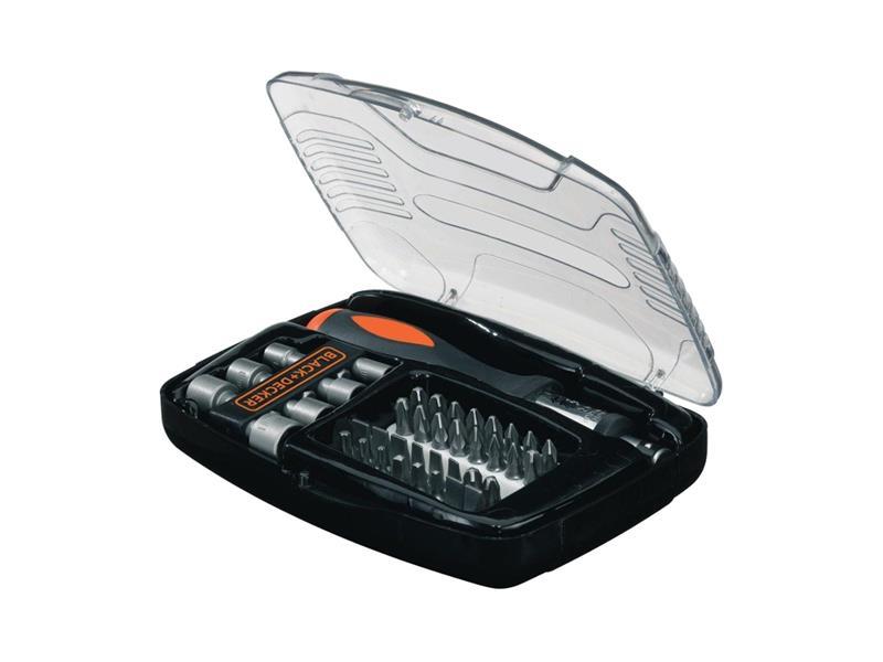 Sada bitů a nástrč. klíčů s ráčnovým šroubovákem BLACK & DECKER 40 dílů A7062-XJ