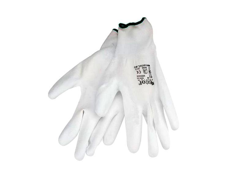 """Rukavice 10"""" bílé z polyesteru polomáčené v PU, EXTOL PREMIUM"""