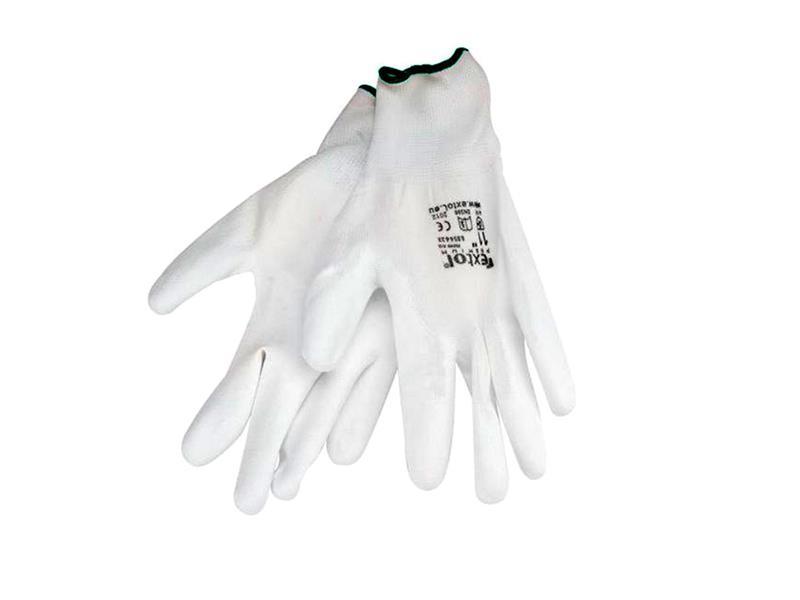 """Rukavice 11"""" bílé z polyesteru polomáčené v PU, EXTOL PREMIUM"""