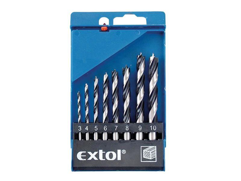 Vrtáky do dřeva, sada 8ks ∅3-4 -5-6-7-8-9-10mm, leštěné EXTOL CRAFT