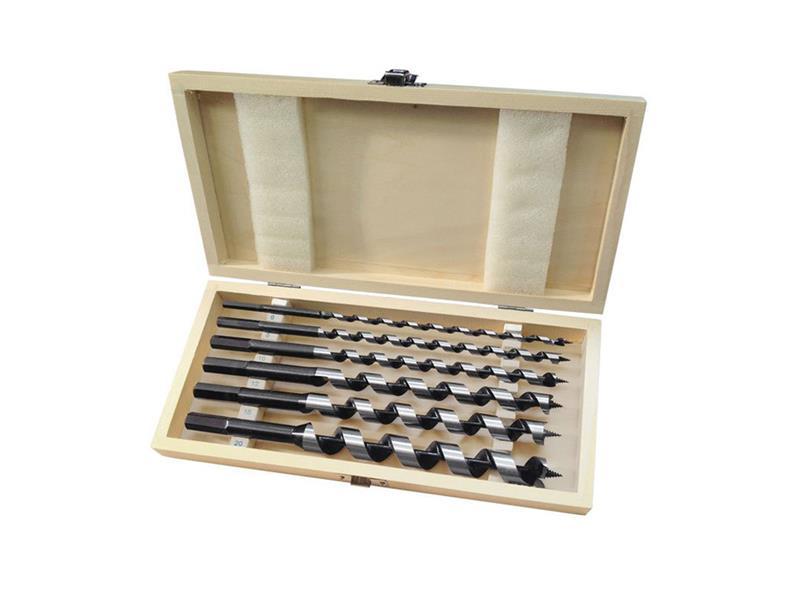 Vrtáky hadovité do dřeva, sada 6ks, šestihranná stopka, v dřevěné kazetě, EXTOL PREMIUM