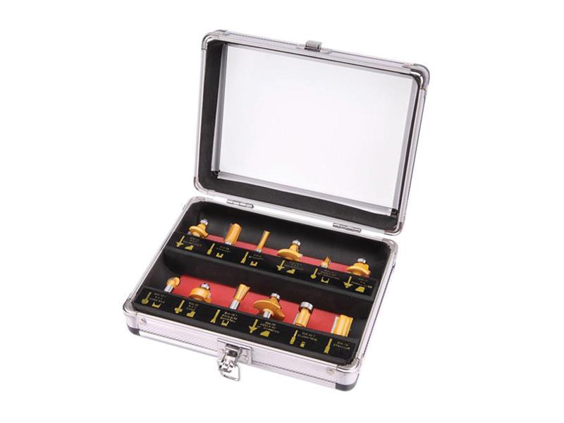 Frézy tvarové do dřeva s SK plátky, sada 12ks, stopka 8mm, v kovovém k., SK, EXTOL CRAFT