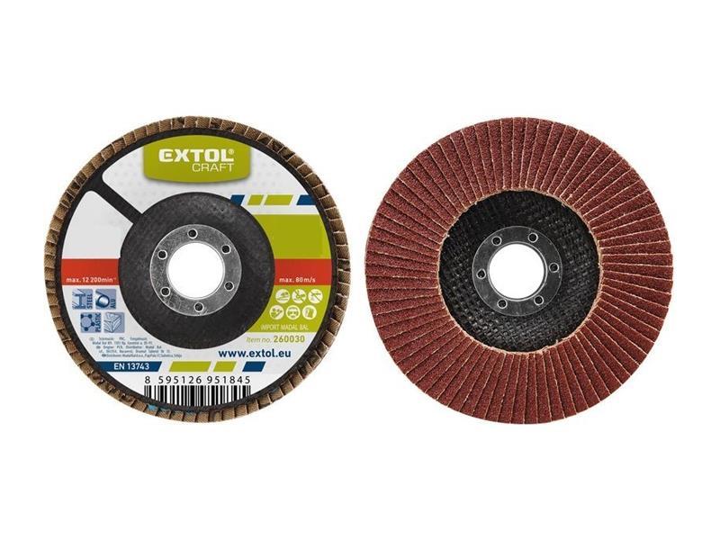Kotouč lamelový šikmý korundový, P80, 115mm, KORUND, EXTOL CRAFT 260008