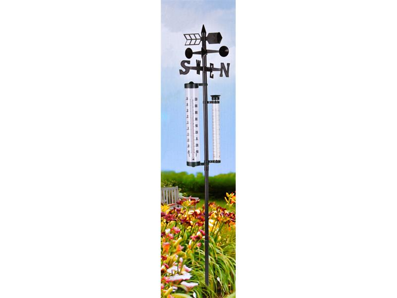 Zahradní analogový teploměr, srážkoměr a ukazatel směru větru