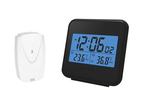 Teploměr bezdrátový,vnitřní/venkovní teplota, čas, budík, černý TE46