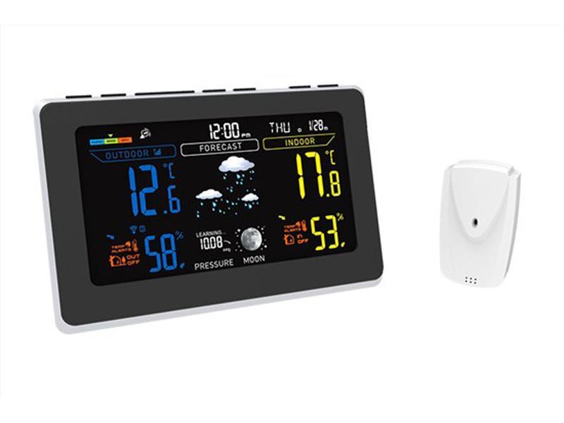Solight meteostanice, extra velký barevný LCD, teplota, vlhkost, tlak, RCC, černá-stříbrná TE76