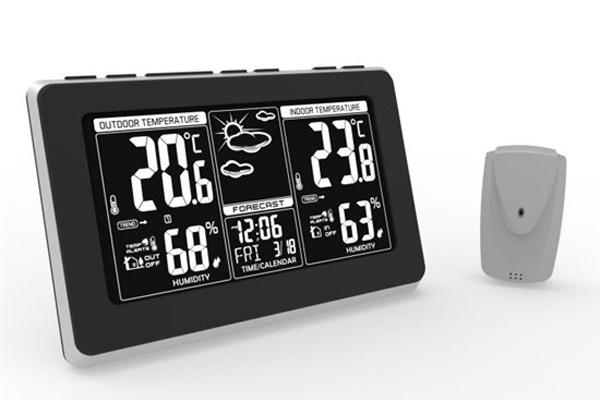Solight meteostanice, extra velký LCD displej, teplota, vlhkost, RCC, černá, stříbrná, teplotní alar