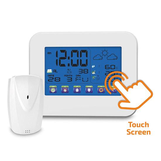 Meteostanice, velký dotykový barevný LCD, vnitřní/venkovní teplota, vlhkost, bílá TE84