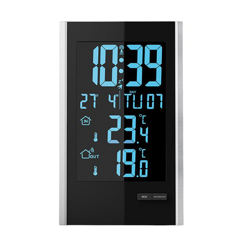 Meteostanice, LCD s volitelnou barvou podsvícení, černá/stříbrná TE85