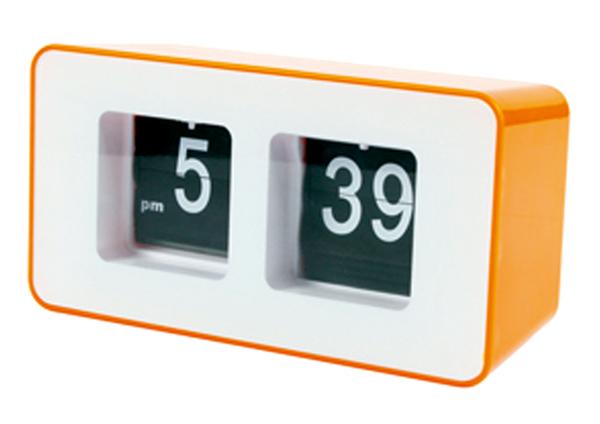 Hodiny retro s překlápěcími číslicemi, oranžové