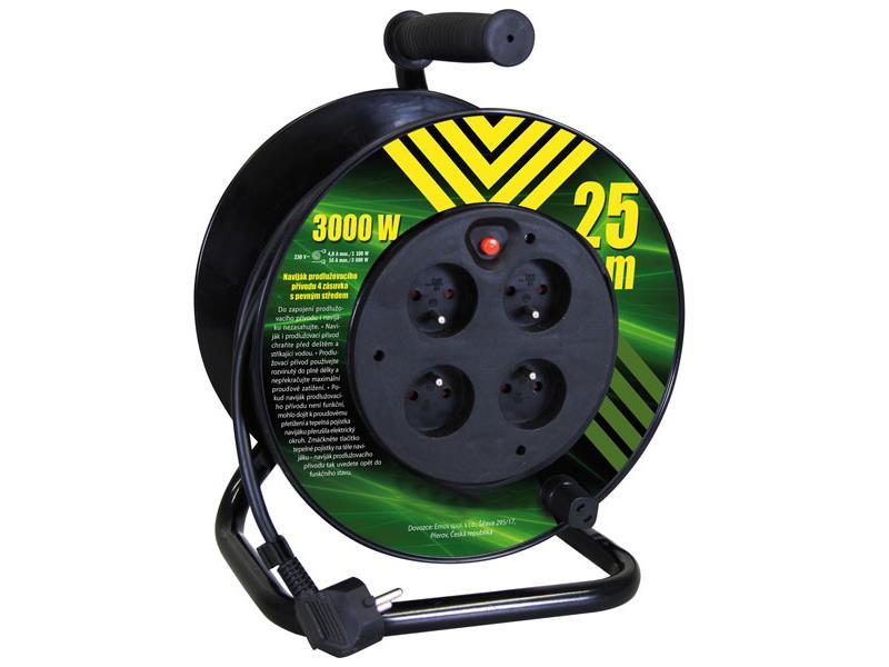 Emos prodlužovací kabel na bubnu 25m 4 zásuvky pevný střed