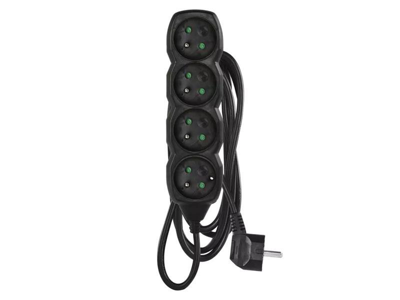 Prodlužovací kabel 4 zásuvky 3m černý