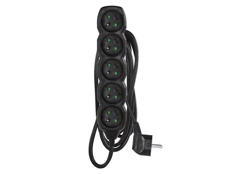 Prodlužovací kabel 5 zásuvek 3m černý