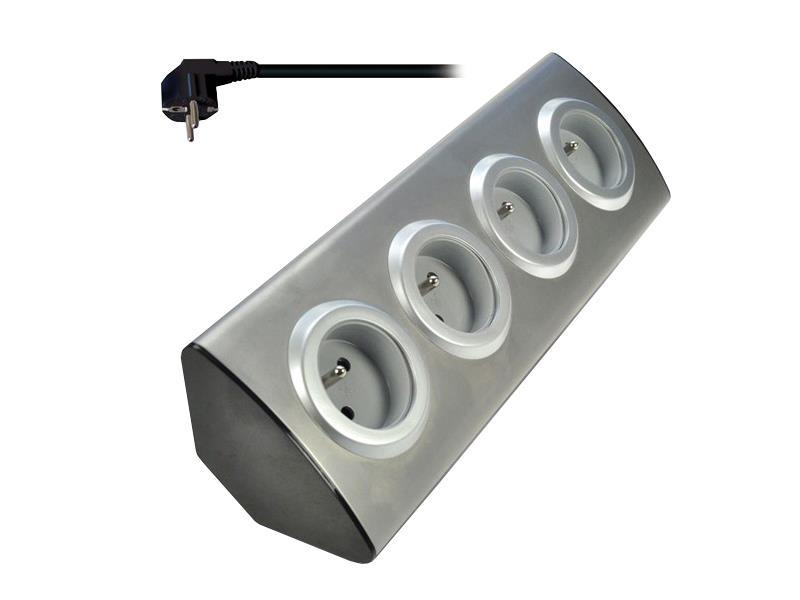 Prodlužovací přívod, 4 zásuvky, stříbrný, 1,5m, rohový design SOLIGHT PP103