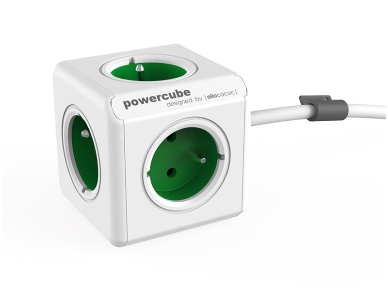 Zásuvka POWERCUBE EXTENDED s kabelem 1.5m GREEN
