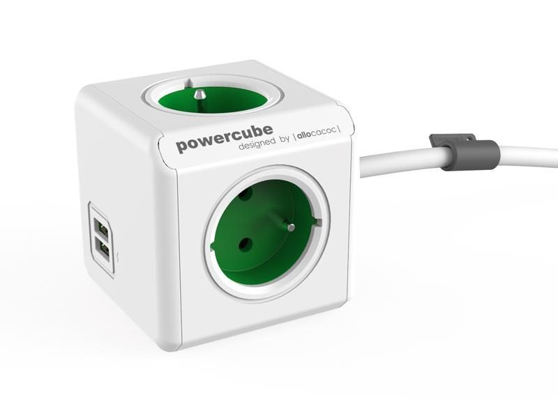Zásuvka POWERCUBE EXTENDED USB s kabelem 1.5m GREEN