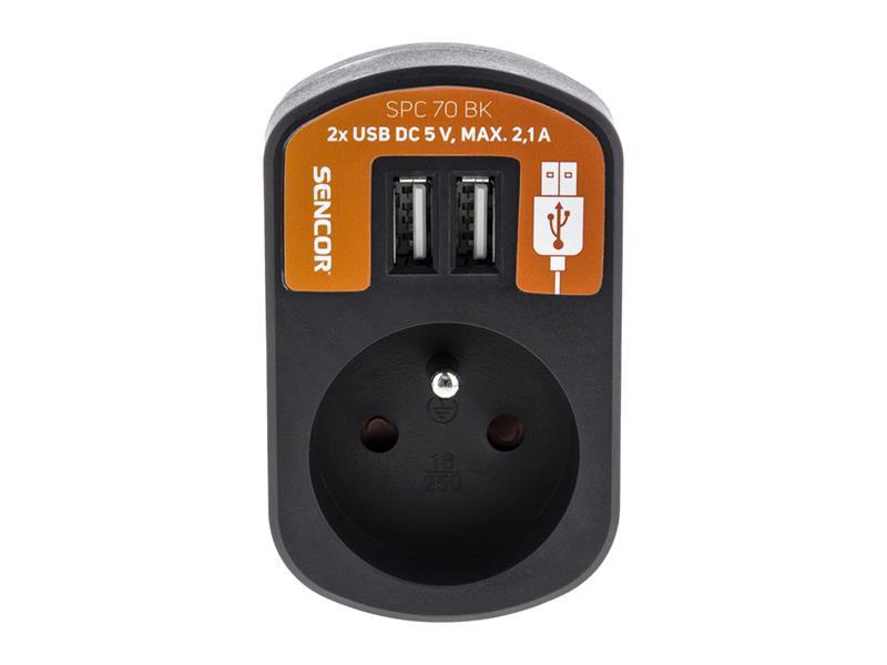 Prodlužovací přívod 1 zásuvka, 2x USB, 5V/2100mA SENCOR SPC 70 BK
