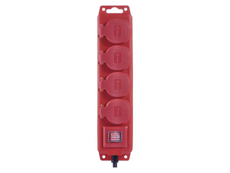Emos Prodlužovací kabel 3m 4 zásuvky červený