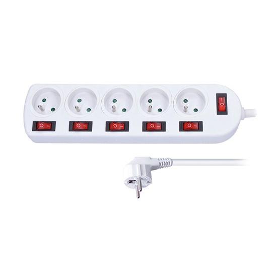 Prodlužovací přívod, 5 zásuvek, bílý, 6x vypínač, 2m PP143