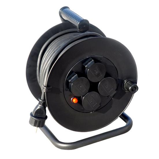 Prodlužovací přívod na bubnu, venkovní, 4 zásuvky, černý, 50m PB34