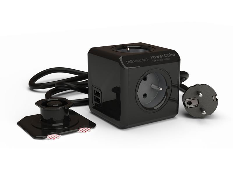 Zásuvka POWERCUBE EXTENDED USB s kabelem 3m BLACK